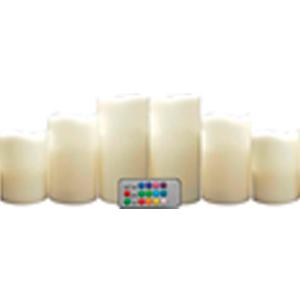Juego de 6 velas con control para cambio a 12 colores de luz led  (2, 7x10/2, 7x13/2, 7x15cm)