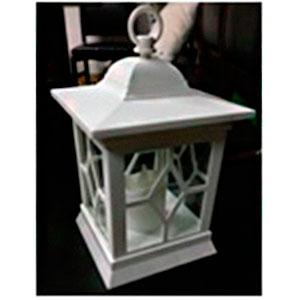 Linterna de plástico blanca con vela de luz led (usa baterias AA) de 15x24cm