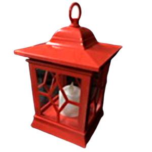 Linterna de plástico roja con vela de luz led (usa baterias AA) de 15x24cm