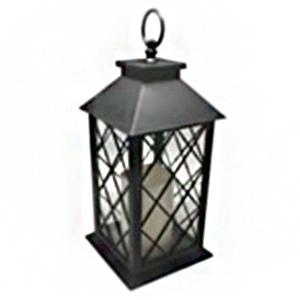 Linterna con diseño rombos negra y luz led (usa baterias AAA) de 15x15x35cm