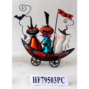 Figura de fantasma, gato y calabaza en carreta de metal p/Halloween de 34.5x6.5x34.5cm