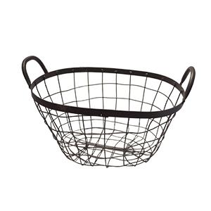 Canasta oval de metal en color gris de36x27x19cm