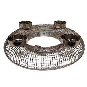 Candelabro de metal plateado p/4 cirios de 55x9x55cm