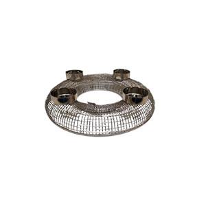 Candelabro de metal plateado p/4 cirios de 48x10x48cm