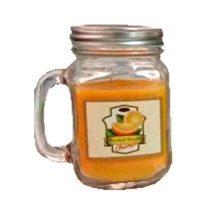 Tarro con vela aroma a naranja de 13x7.5cm