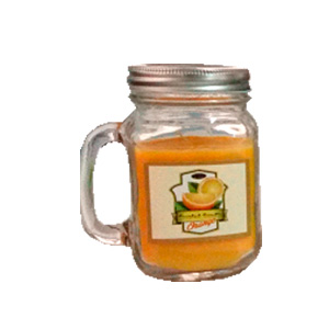 Tarro con vela aroma a naranja de 8x5cm