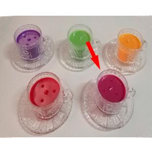 Taza c/plato de cristal con vela aroma de frambuesa de 6x7cm