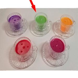 Taza c/plato de cristal con vela aroma de manzana verde de 6x7cm