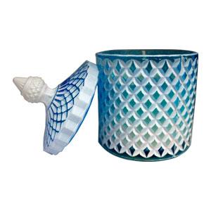 Candelabro viselado con rombos azules de 8.5x8.5x13cm