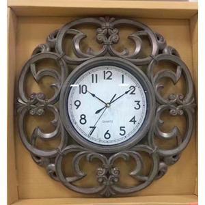 Reloj de plastico diseño guías en color café de 45x45x5cm