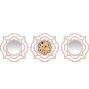 Jgo de reloj con 2 espejos de plastico diseño grecas blanco de 35x35cm