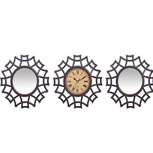 Jgo de reloj con 2 espejos de plastico diseño telaraña plata de 25x25cm