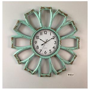Reloj de plastico diseño flor azul aqua terminado antiguo de 66x66x5cm