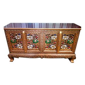 Cómoda de madera rectangular dorado con diseño de flores en las 4 puertas de