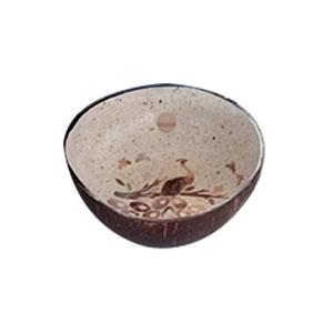 Bowl diseño incrustaciones de concha diseño pavorreal café