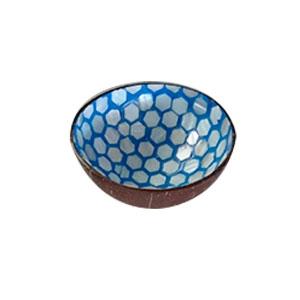 Bowl diseño incrustaciones de concha en circulos cafes