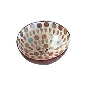 Bowl diseño incrustaciones de concha con círculos cafe