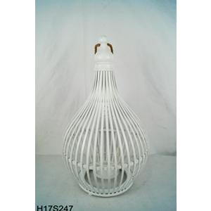 Linterna de bambú blanca con candelabro de cristal de 34.5x34.5x57cm