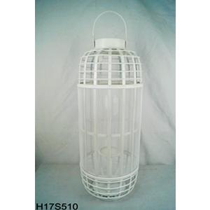 Linterna cilíndrica de bambú blanca con candelabro de cristal de 27x27x67.5cm