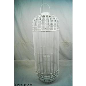 Linterna cilíndrica de bambú blanca con candelabro de cristal de 40.5x40.5x107cm