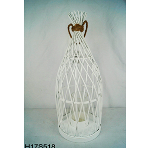 Linterna de bambú blanca diseño rombos con candelabro de cristal de 24.5x24.5x61cm