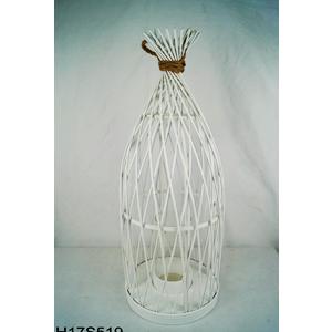 Linterna de bambú blanca diseño rombos con candelabro de cristal de 27.5x27.5x70cm