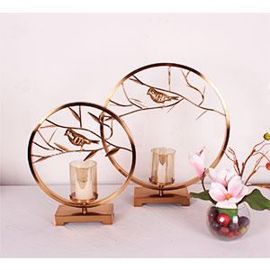 Candelabro de metal cobre circular con ramas y aves de 29.5x8.5x34cm