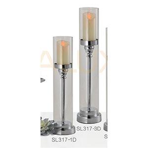 Candelabro diseño pedestal con pantalla de cristal plata de 10x10x47.5cm