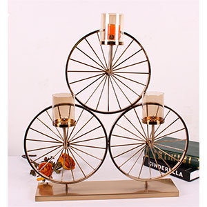 Candelabro triple diseño ruedas de bicicleta cobre de 60x18x65cm