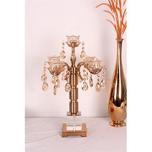 Candelabro para 5 velas color cobre con cuentas transparentes de 31x31x52.5cm