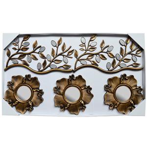 Juego de 3 espejos diseño hojas y guías con espejos doradas de 23x41/10x10cm