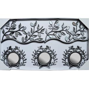 Juego de 3 espejos diseño hojas y guías con espejos plateados de 23x41/10x10cm