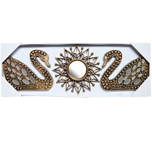 Espejo de pared diseño estrella y cisnes dorados con espejos de 25x20/10x10cm