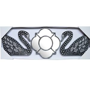 Espejo de pared diseño rombo y cisnes con espejos plateados de 25x20/10x10cm