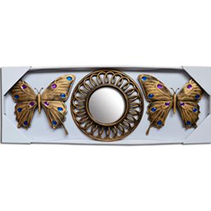 Espejo de pared redondo y mariposas con espejos en dorado de 24x21/10x10xcm