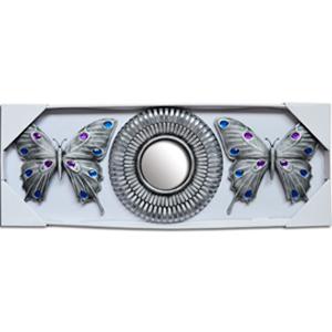 Espejo de pared redondo y mariposas con espejos en plateado de 24x21/10x10xcm