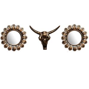 Juego de espejos redondos diseño espuelas y cabeza de toro en dorado de 45x37/16x16cm