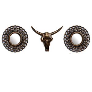 Juego de espejos redondos diseño cadena y cabeza de Toro de 45x37/16x16cm