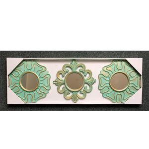 Juego de 3 espejos en marco verde de 25cm