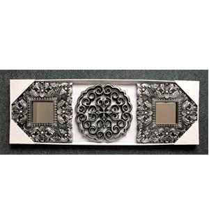 Juego de 2 espejos plateados en marco cuadrado y decoración de flor de lis de 25cm