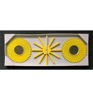 Juego de 2 espejos con marco amarillo y reloj de pared de 30cm