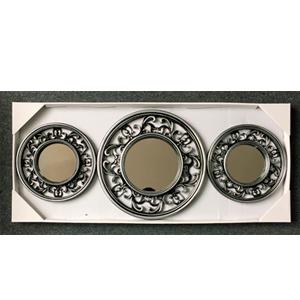 Juego de 3 espejos con marco redondo calado gris de 35cm