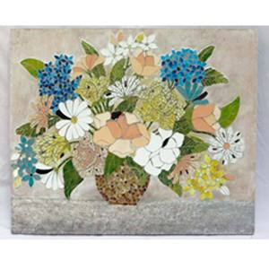Cuadro diseño maceta con flores forrada de espejos de colores de 9070x4cm