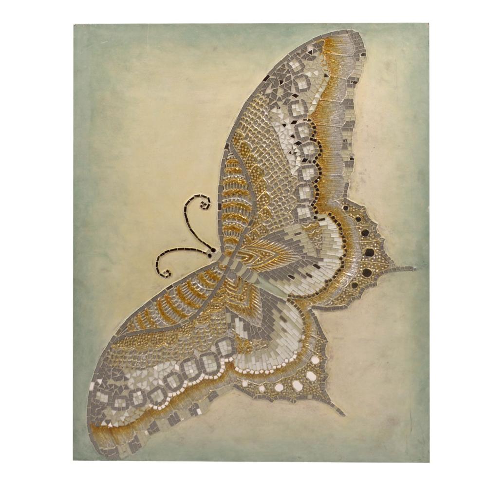 Cuadro diseño mariposa con incrustaciones de cristales de colores de 90x70x4cm