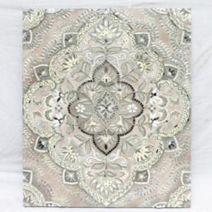 Cuadro diseño rombo y flores con incrustaciones de cristales de 90x70x4cm