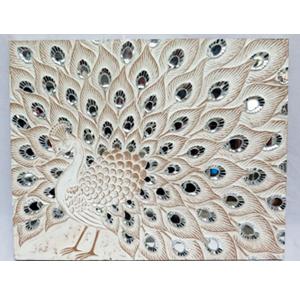 Cuadro diseño pavorreal blanco con incrustaciones de espejos blancos de 90x70x4cm
