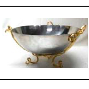 Bowl de metal plateado con base diseño ramas doradas de 34x34x20cm