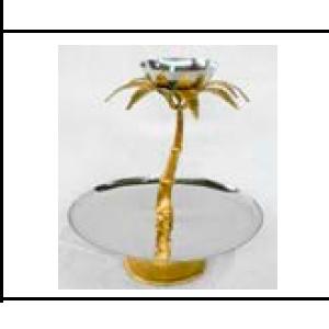 Plato de metal plateado con base diseño palmera y tazón de 25x25x33cm