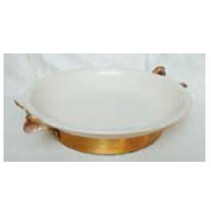 Bowl de porcelana blanca con base de metal dorada de 42x34x11cm