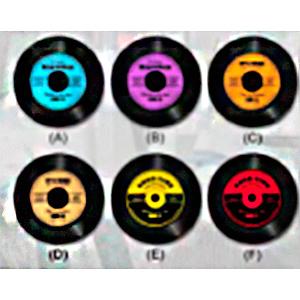 Juego de 6 Portavasos diseño Discos de Vinil de 10cm